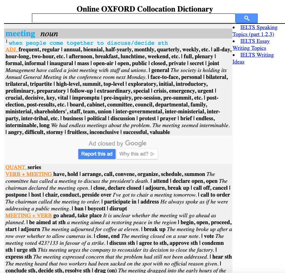Online Collocation Dictionaries